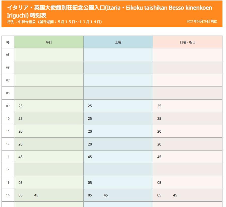 東武バス時刻表